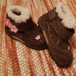 Stride rite leather walking boots shoes 4.5 girls